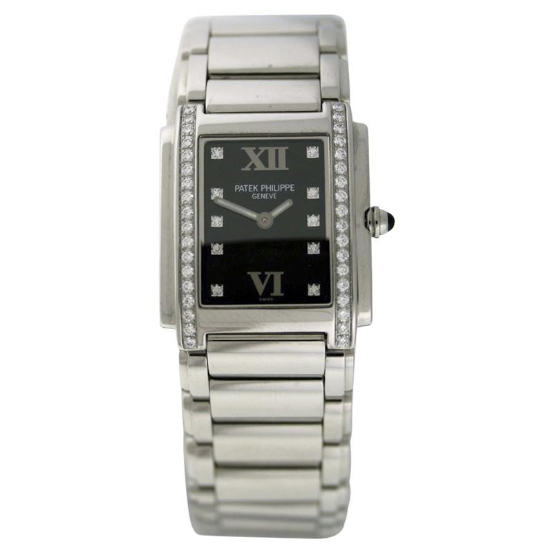 "Image of ""Patek Philippe Twenty-4 Stainless Steel & Diamond 25mm x 30mm Watch"""