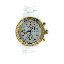 Michele Jetway MWW17B000007 White Ceramic Diamond Gold Tone Watch