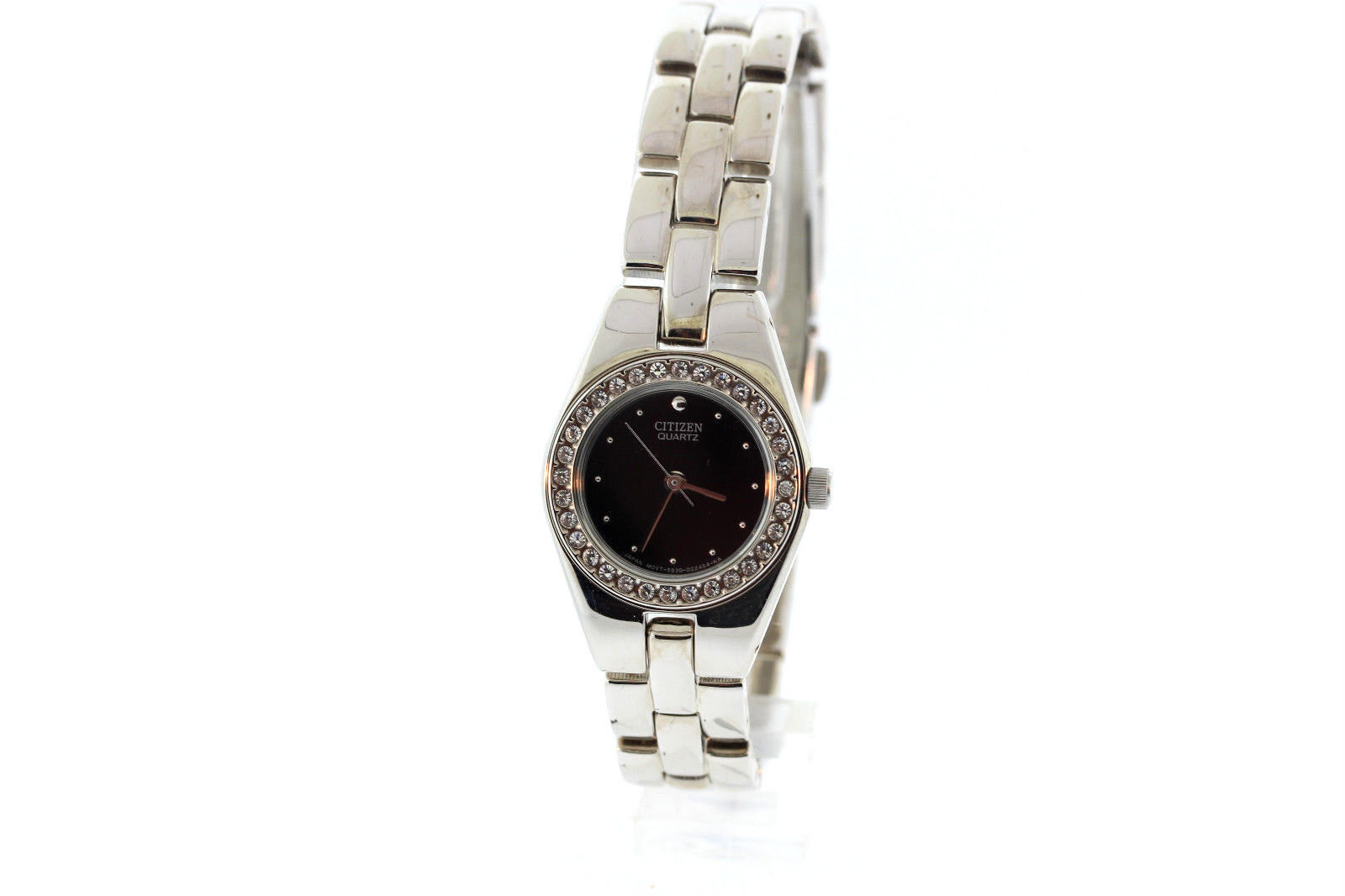 "Image of ""Citizen Stainless Steel & Black Dial Quartz 22mm Womens Watch"""