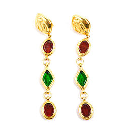 Chanel Gold Tone Metal with Red Green Gripoix Stones and Diamond Earrings