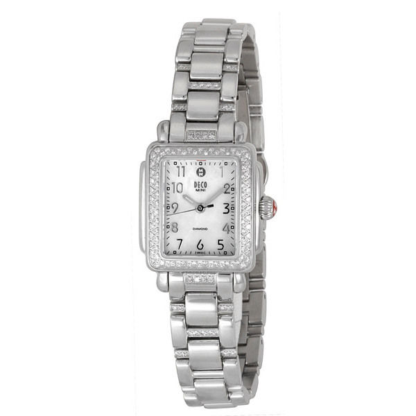 "Image of ""Michele Deco Mini Mww06D000049 Diamond Stainless Steel Watch"""