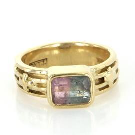 Loree Rodkin 18k Yellow Gold Watermelon Tourmaline Designer Cocktail Jewelry Ring