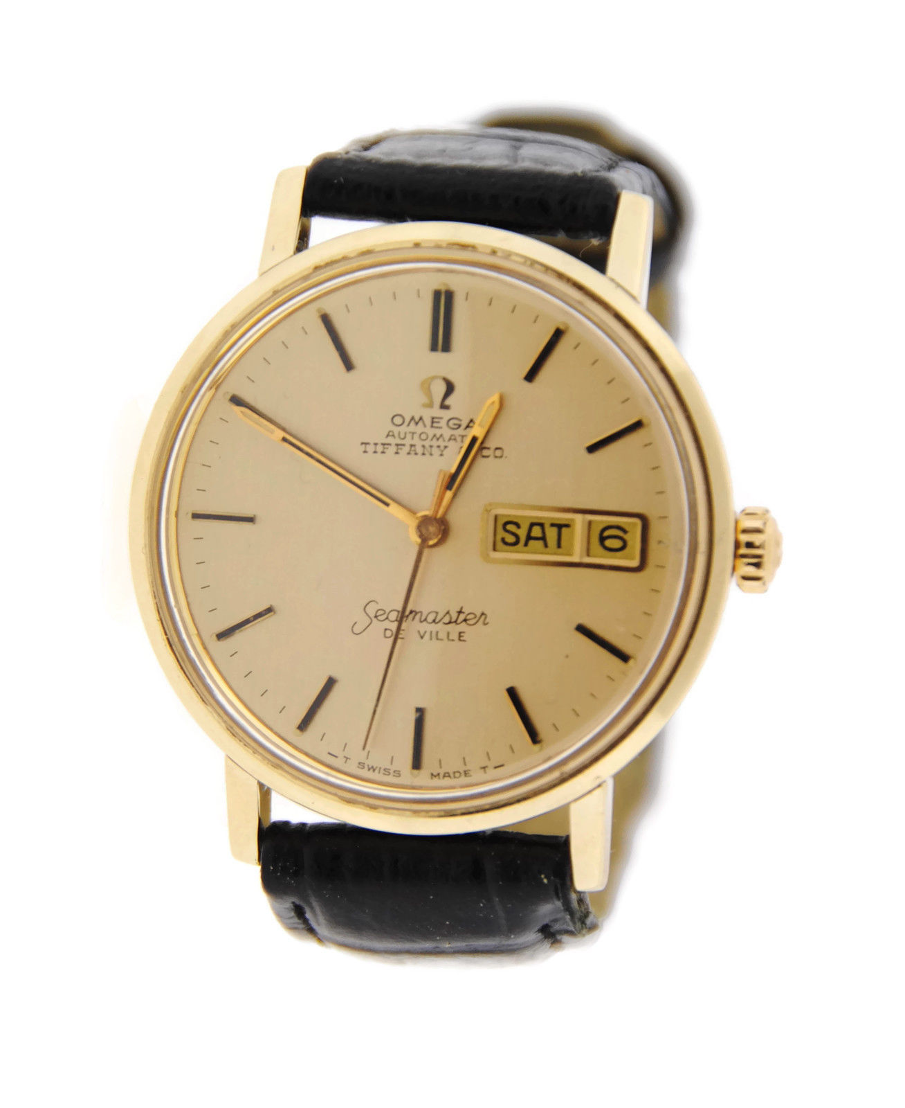 "Image of ""Omega Seamaster DeVille Tiffany & Co Dial Vintage 18K Yellow Gold Mens"""