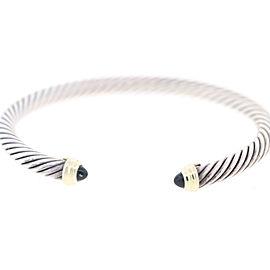 David Yurman Sterling Silver & 14K Yellow Gold Black Onyx Cable Bracelet