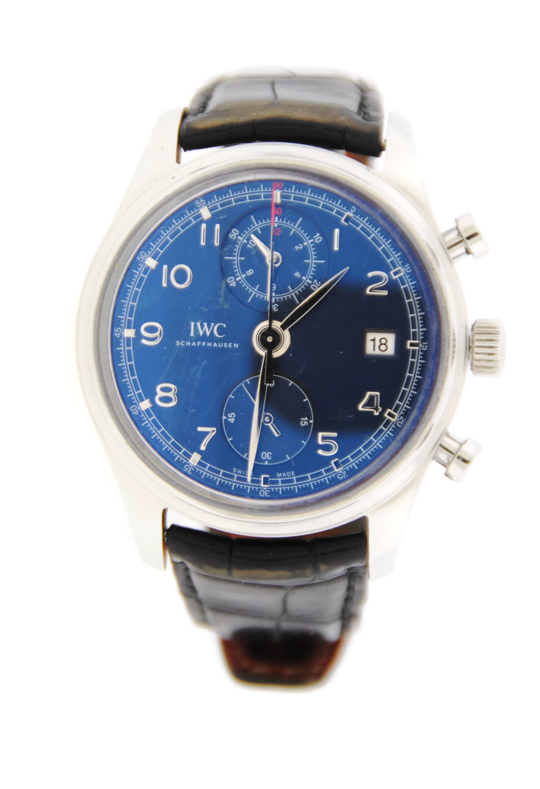 """Image of """"IWC Portuguese Iw390406 Chronograph Laureus Stainless Steel Watch"""""""