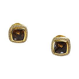 David Yurman Albion 18K Yellow Gold Diamond & Citrine Square Earrings