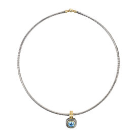 David Yurman 925 Sterling Silver/14K Yellow Gold with Blue Topaz Cable Collar Albion Necklace