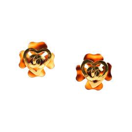 Chanel Gold Tone Metal & Resin Earrings