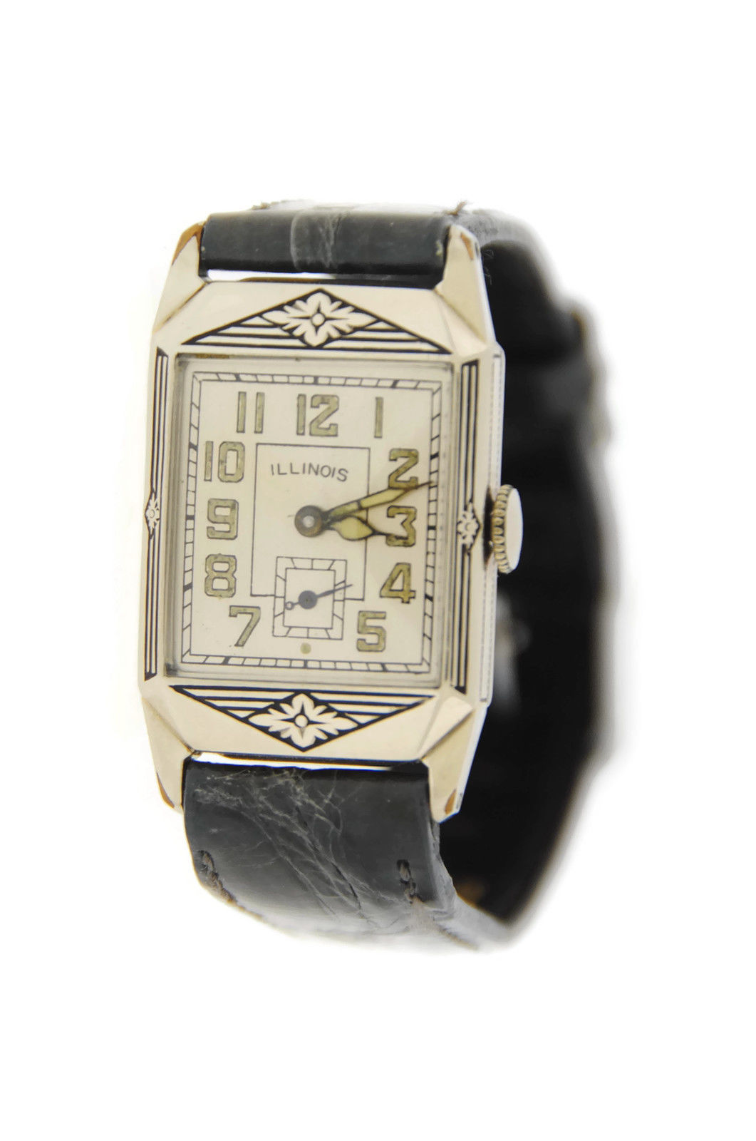 "Image of ""Illinois Deco Cal 207 14K White Gold Plated Vintage 22.5mm Womens"""