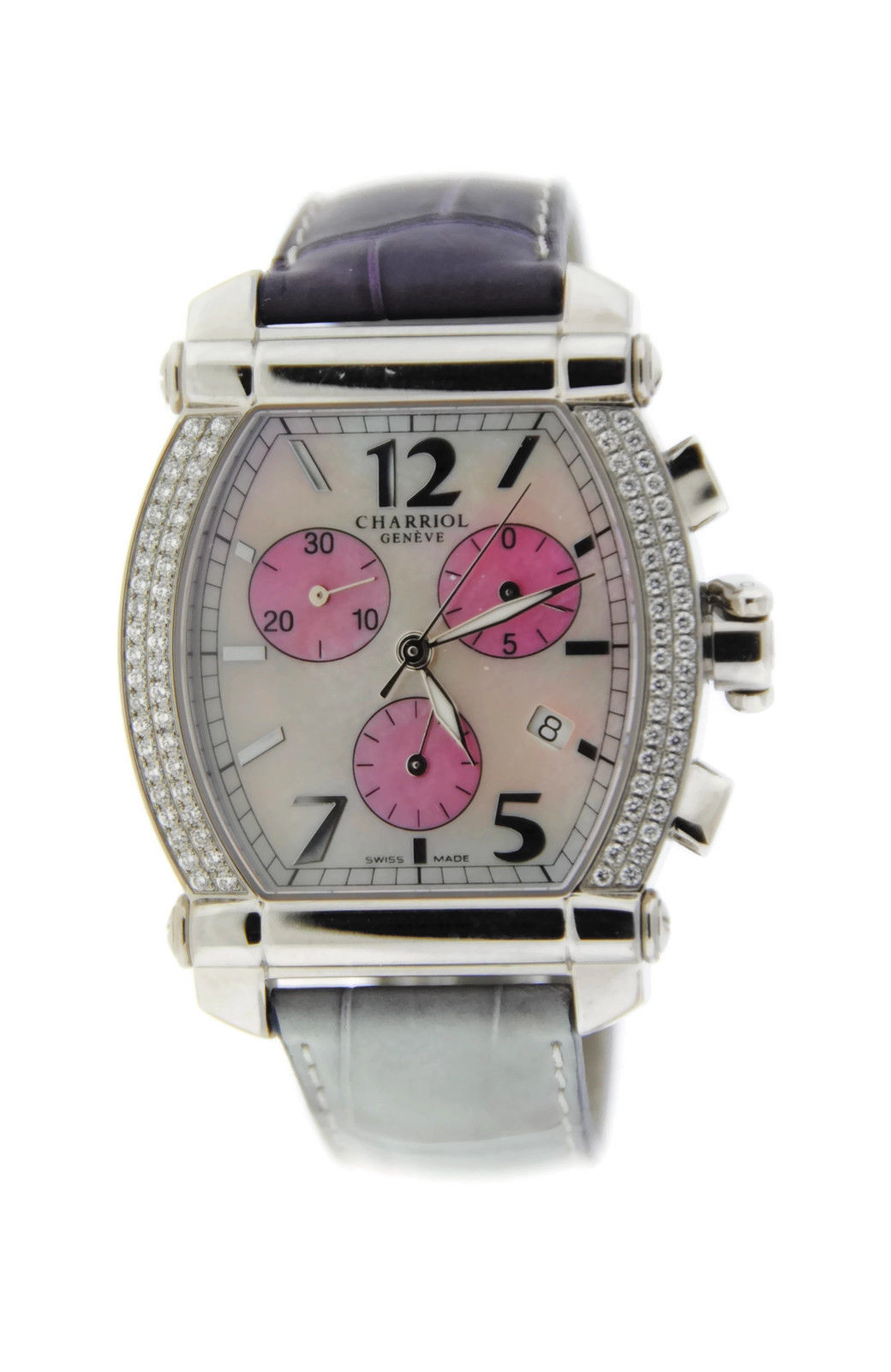 "Image of ""Charriol Columbus 060T Stainless Steel Diamond Chronograph Watch"""