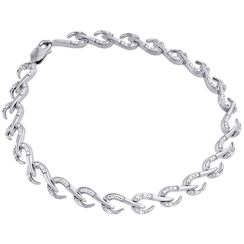 "Image of ""925 Sterling Silver .15ct Diamond Hook Design Link Bracelet"""
