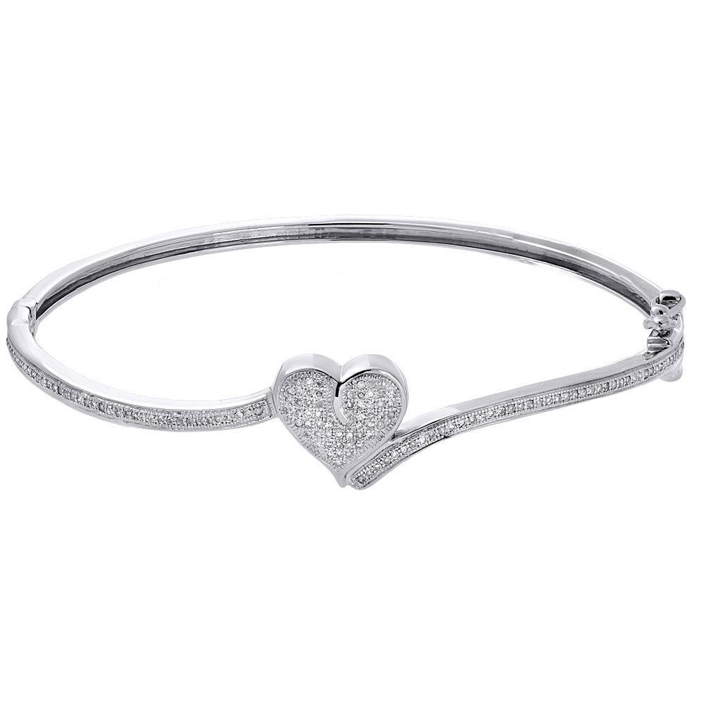 "Image of "".925 Sterling Silver & 0.43ct Diamond Heart Shape Bangle Bracelet"""