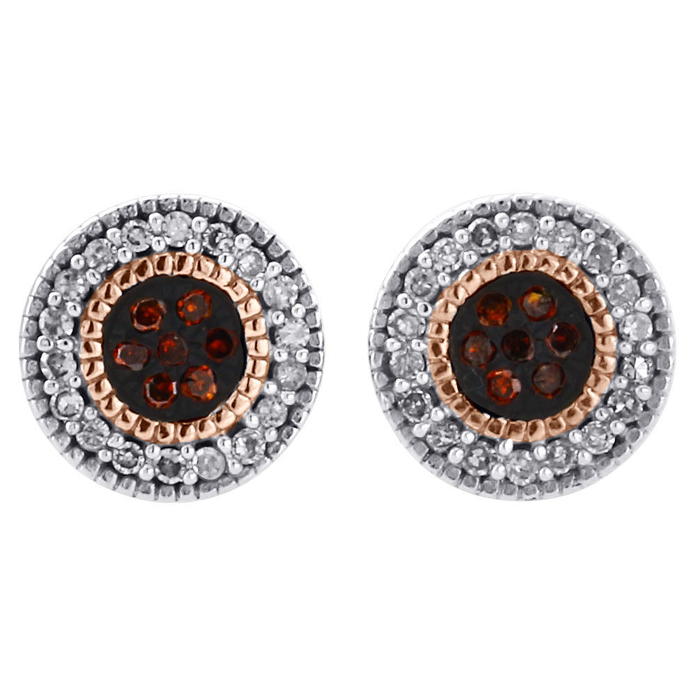 "Image of ""10K Rose Gold 0.12ct Red & White Diamond Stud Milgrain Edge Earrings"""