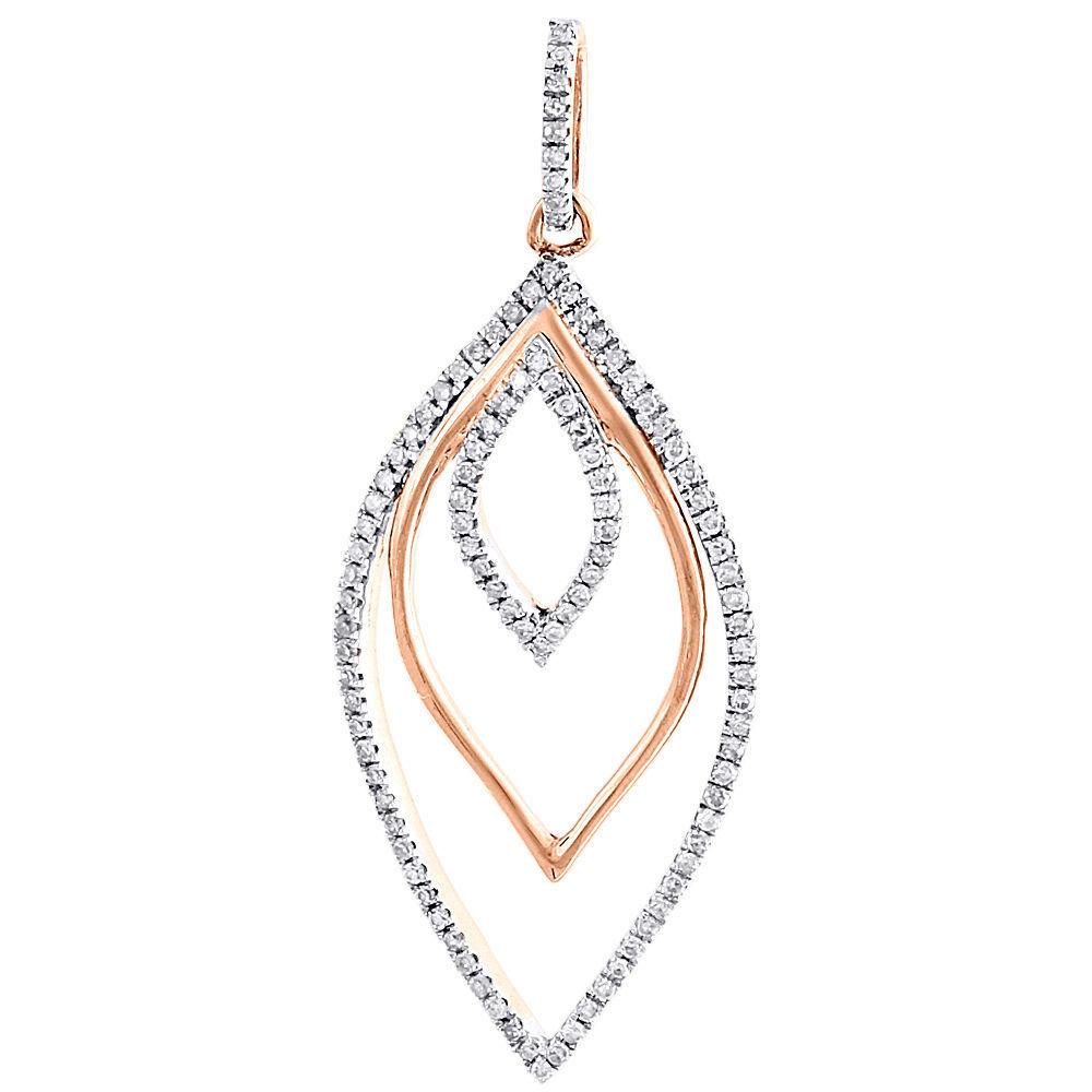 "Image of ""10K Rose Gold 0.30ct Diamond Layered Petal Dangle Charm Pendant"""