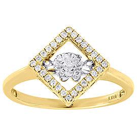 10K Yellow Gold .19ct Round Dancing Diamond Square Halo Ring Size 7