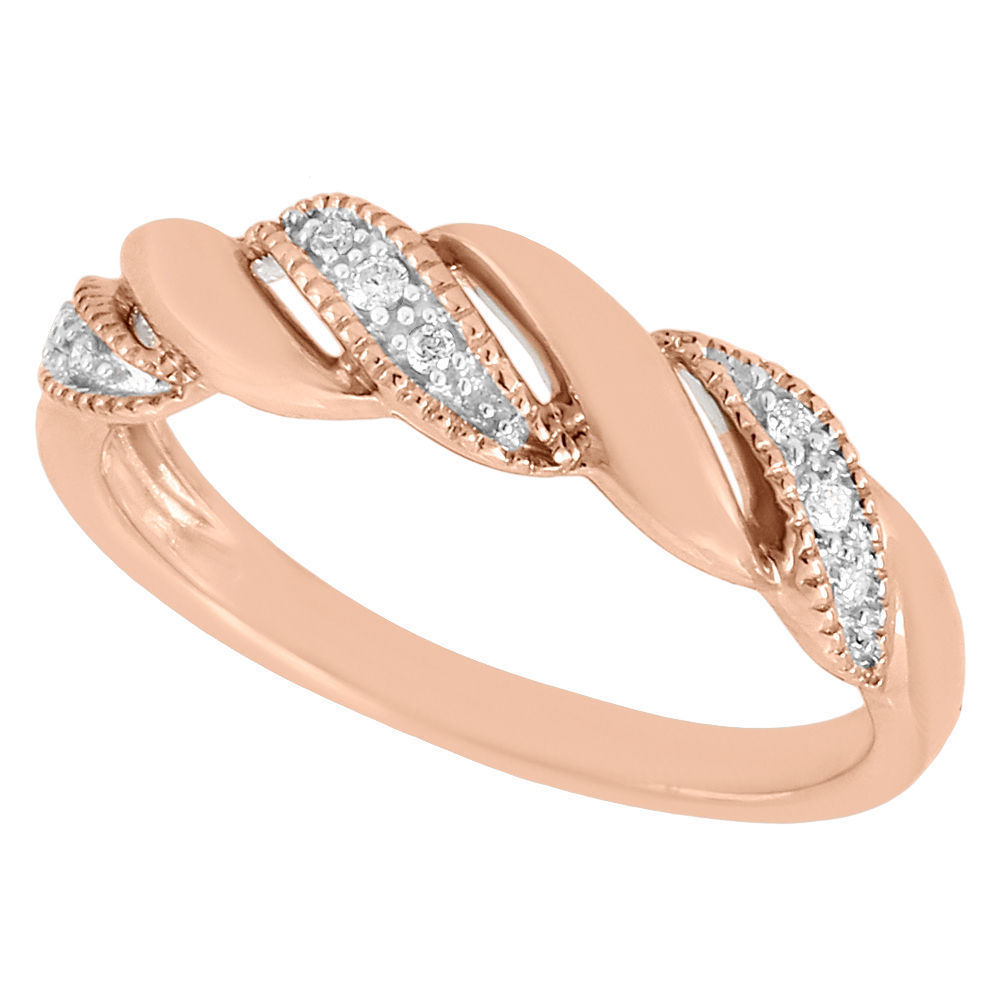 "Image of ""10K Rose Gold 0.05ct Diamond Twisted Cocktail Band Ring Size 7.0"""