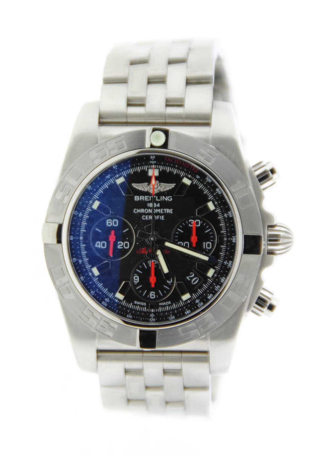 "Image of ""Breitling Chronomat 44 Ab011110/ba50 Black Dial Stainless Steel Watch"""