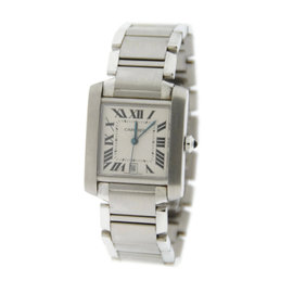 Cartier Tank Large Automatic Stainless Steel Mens Watch