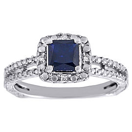 925 Sterling Silver Blue Sapphire & 0.03ct Diamond Halo Ring Size 7