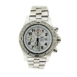 Breitling Super Avenger A13370 Diamond Chronograph Stainless Steel 48mm Watch