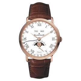 Blancpain Villeret 18K Rose Gold & Leather Moonphase Complete Calendar 42mm Mens Watch