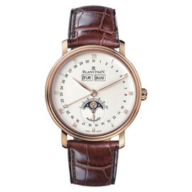 Blancpain Villeret 6263-3642-55 18K Rose Gold & Leather Full Calendar 38mm Mens Watch