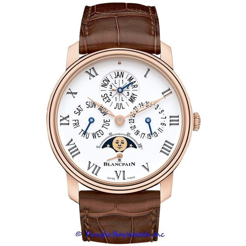 "Image of ""Blancpain Villeret Quantieme Perpetual 8 Days 18K Rose Gold 42mm Watch"""