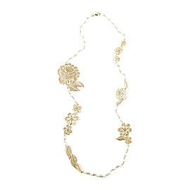 Chanel 08A Gold Tone Cut Out Lace Flower Faux Pearl Beaded Chain Necklace