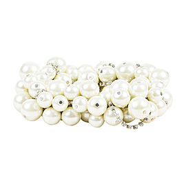 Kenneth Jay Lane White Silver-Tone Hardware Cluster Faux Pearl Crystal Stretch Bracelet