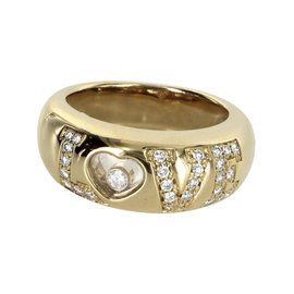 Chopard Love 18K Yellow Gold Happy Diamonds Ring Size 5