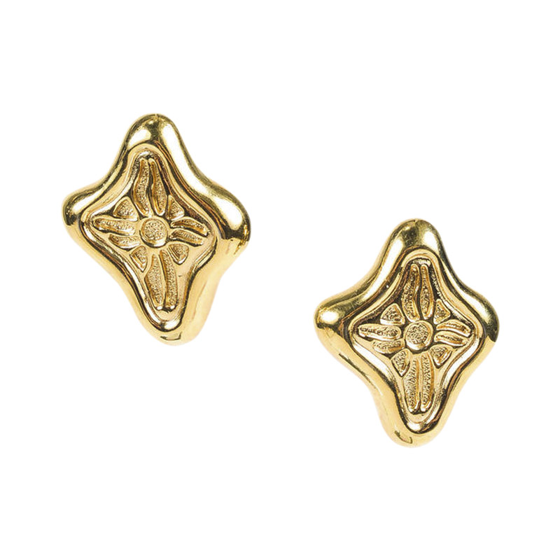 "Image of ""Givenchy Gold Tone Abstract Cutout Clip On Earrings"""