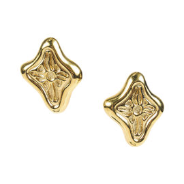 Givenchy Gold Tone Abstract Cutout Clip On Earrings