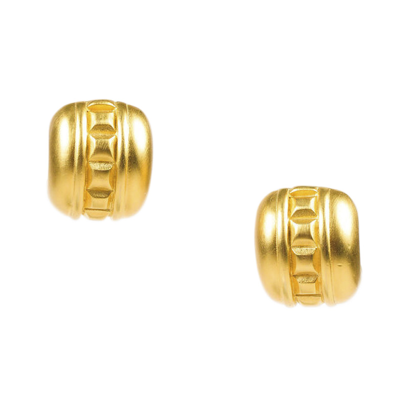 "Image of ""Givenchy Matte Gold Tone Studded Clip On Huggie Earrings"""