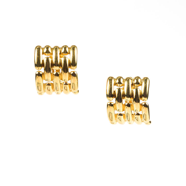 "Image of ""Givenchy Gold Tone Metal Clip On Huggie Earrings"""