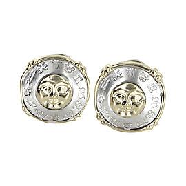 14K Yellow and White Gold Vintage Celestial Moon Star Zodiac Earrings
