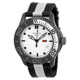 Gucci G-Timeless XL YA126243 Black White Stainless Steel & Nylon 44mm Mens Watch