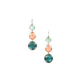 Ippolita Sterling Silver with Peach Blue Quartz and Mother Of Pearl Earrings