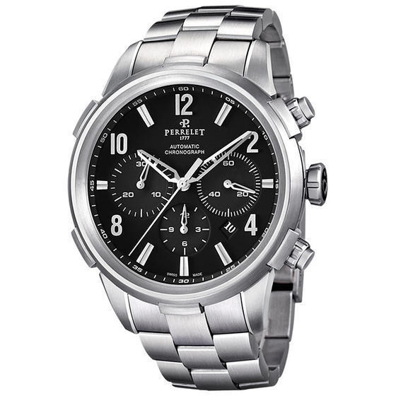 "Image of ""Perrelet Class-T A1069/b Stainless Steel Black Dial Automatic 44mm"""