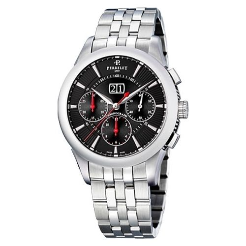 "Image of ""Perrelet Big Date A1008/i Stainless Steel Automatic 42mm Mens Watch"""