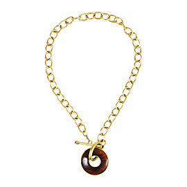 Kenneth Jay Lane Gold Tone Metal Tortoise Ring Pendant Chain Necklace
