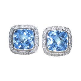 David Yurman 925 Sterling Silver Albion Blue Topaz Diamond Earrings