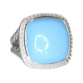 David Yurman 925 Sterling Silver Turquoise 0.33ct. Diamond Ring Size 6