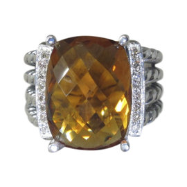 David Yurman 925 Sterling Silver Citrine and 0.16ct Diamond Ring Size 6.5