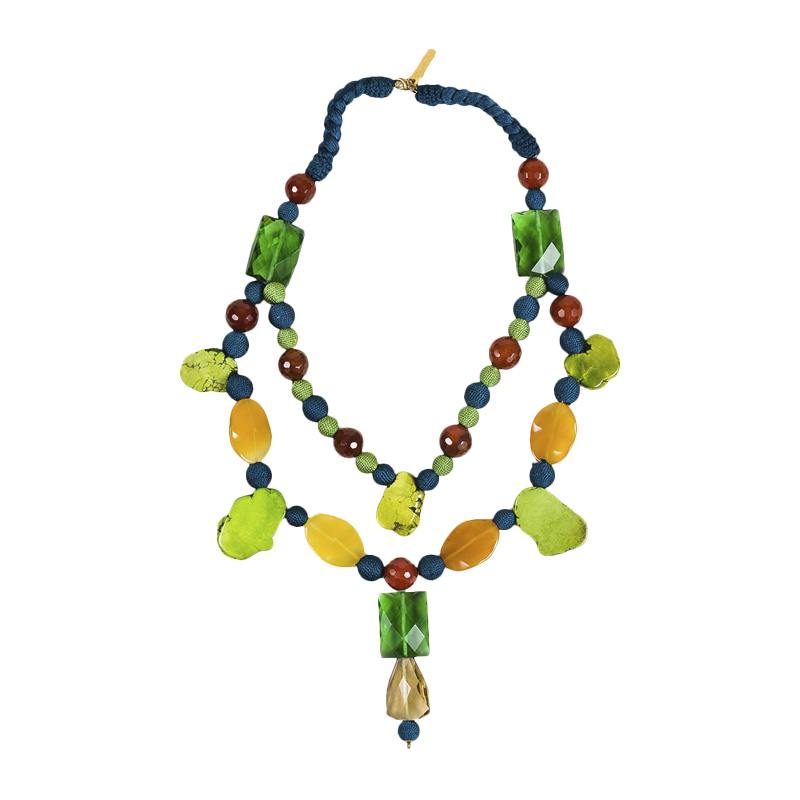 "Image of ""Oscar de la Renta Blue Green Yellow Stone Crystal & Resin Bead"""