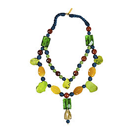 Oscar de la Renta Blue Green Yellow Stone Crystal & Resin Bead Necklace