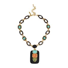 Oscar de la Renta Gold Tone Metal Brown Multicolor Carved Resin Pendant Necklace