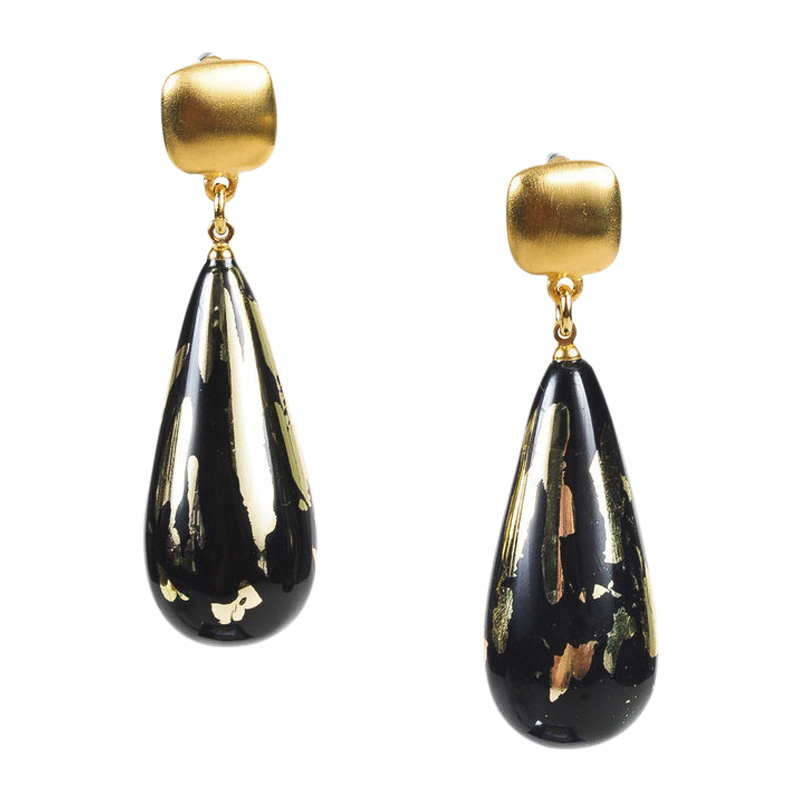 "Image of ""Kenneth Jay Lane Couture Gold Tone Metal & Resin Earrings"""