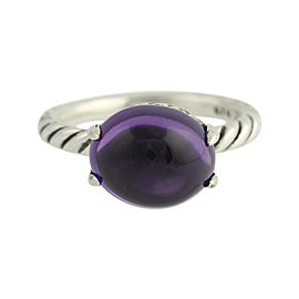 David Yurman 925 Sterling Silver & Amethyst Cabochon Ring