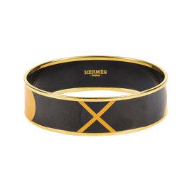 Hermes Gold Plated & Black Yellow Enamel Geometric Print Bangle Bracelet