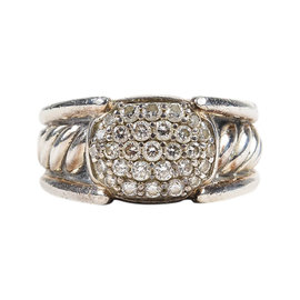 David Yurman Sterling Silver with Pave Diamond Cable Ring Size 5.25
